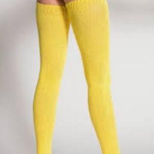 RARE Yellow Thigh High Socks American Apparel